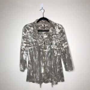 XCVI Tie Dye Zip Up Sweater S 222U0